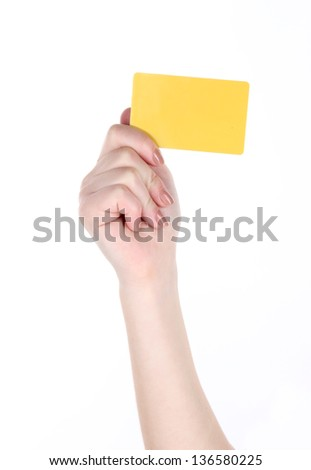 Business card in female hand isolated