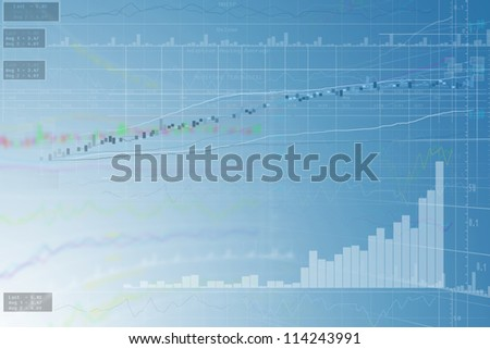 Business Chart-icons blue background. - stock photo