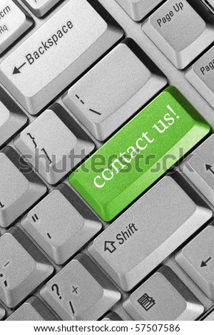 """business concept. Keyboard  green key -""""contact us"""" - stock photo"""