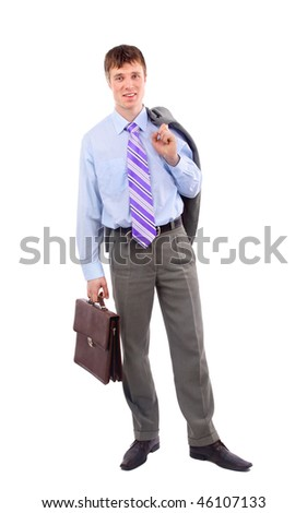 business man, isolated on white - stock photo