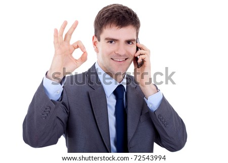 business man on the phone approving the good news, over white - stock photo