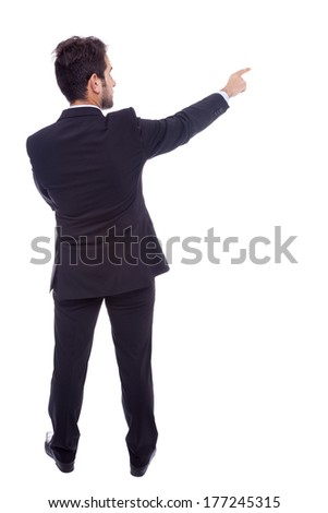 Business man pointing at something, isolated on white background