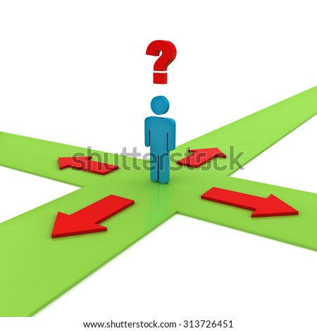 Business man thinking and confusing with four red arrows on green ways showing four different directions wondering which way to go over white background