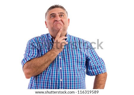 Business man wondering about something isolated against white - stock photo