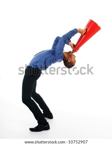 business man yelling in a red megaphone