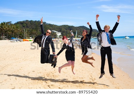 4 business people jumping - stock photo
