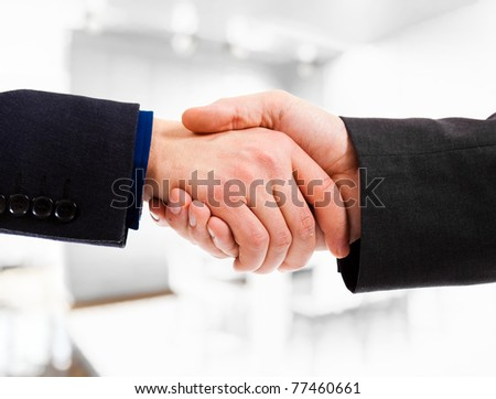 Business people shaking hands. Office environment