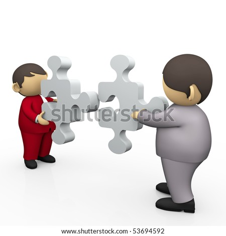 2 business person matching puzzle pieces - stock photo