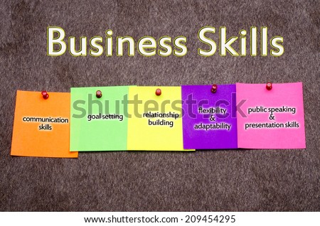 """""""Business skills"""" concept on the sparkle brown Momento  texture background - stock photo"""