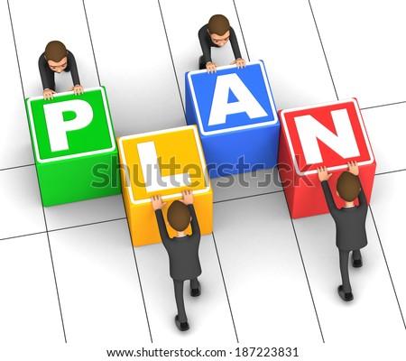 business team building plan - stock photo