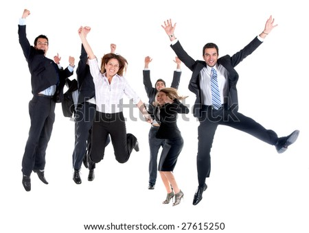 business team jumping isolated over a white background