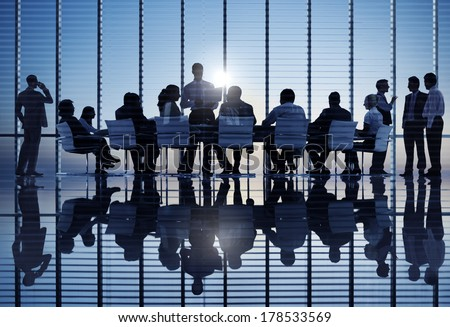 Business Team Meeting at Sunset - stock photo