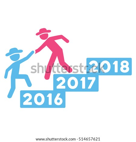 2017 Business Training glyph icon. Style is flat graphic symbol, pink and blue colors, white background.