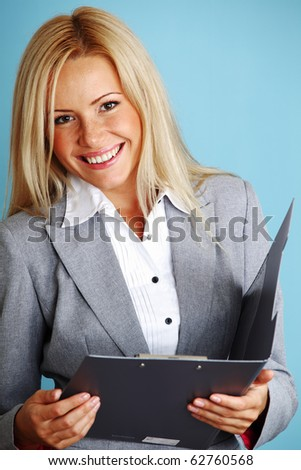 business woman hold a folder - stock photo