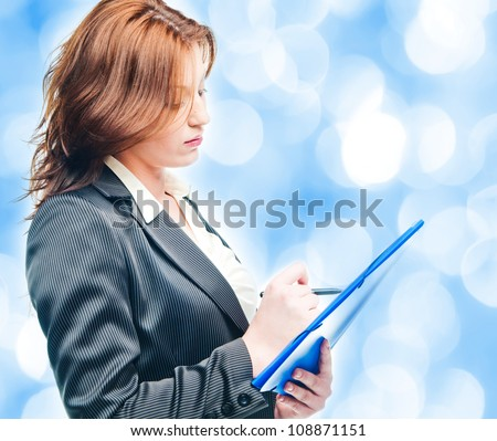 business woman holding a portfolio over white - stock photo