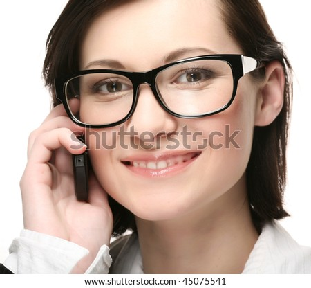 business woman on the phone smiling over a white  background