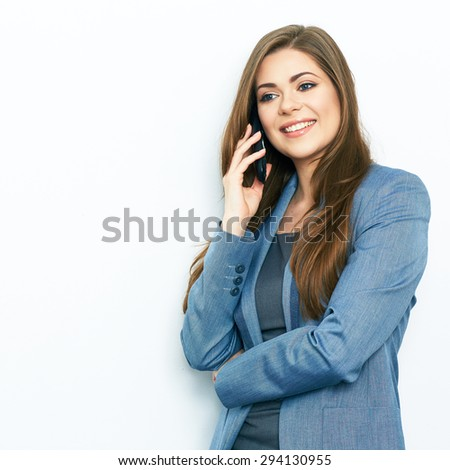 business woman phone talking. isolated portrait of smiling business woman. - stock photo