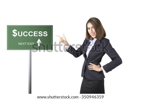 business woman thumbs up isolated on white background.success - stock photo