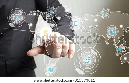 business woman touching media screen with finger - stock photo