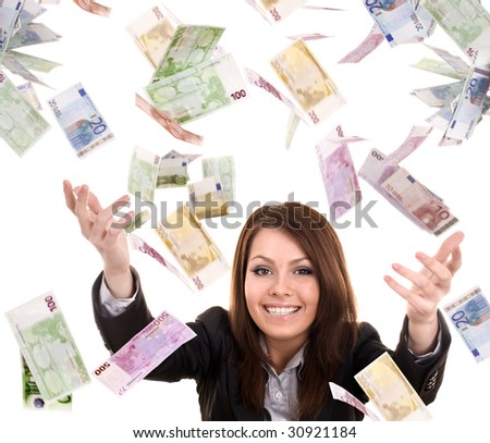 Business women with flying money. Isolated. - stock photo