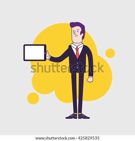 businessman character holding tablet. Linear flat design - stock photo