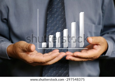 businessman hand hold chart, business, technology, internet and networking concept - businessman pressing button with contact on virtual screens - stock photo
