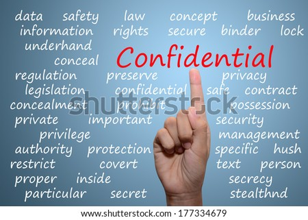 businessman pointing confidential concept  - stock photo