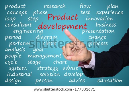 businessman pointing product development concept   - stock photo