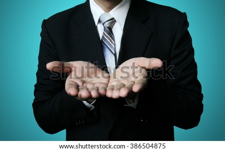 businessman reach two hand - stock photo