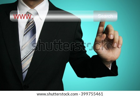 businessman search internet, Business and technology, searching system and internet concept - male hand pressing Search marketing button. www, search engine.