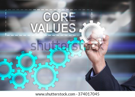 businessman using modern computer and drawing visual concept. Core values.