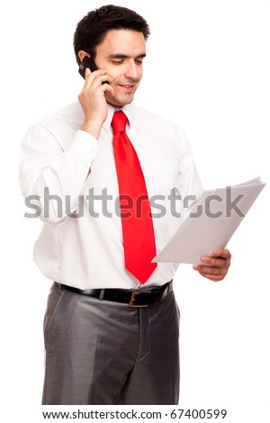 Businessman with papers, isolated on white
