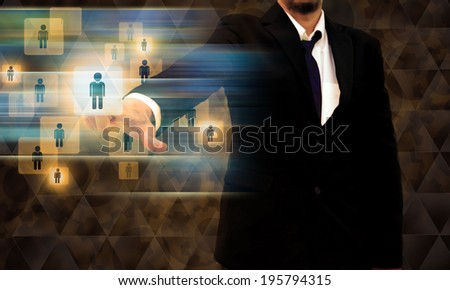 businessman working on modern technology - stock photo