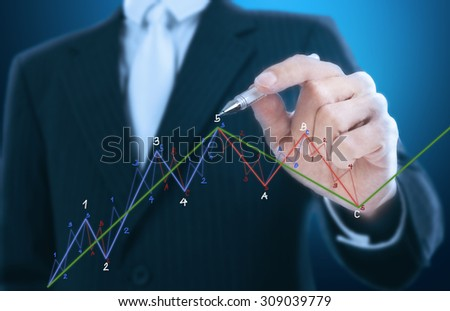 businessman writing chart pattern - stock photo