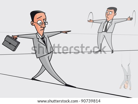 Businessmen on the tightrope - stock photo