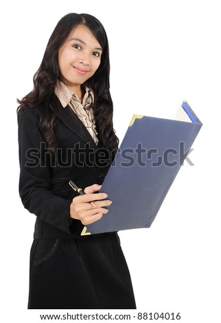businesswoman carrying a book and a pen isolated on white background - stock photo