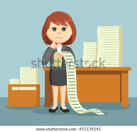 businesswoman confused with a list of all the tasks assigned to him - stock photo