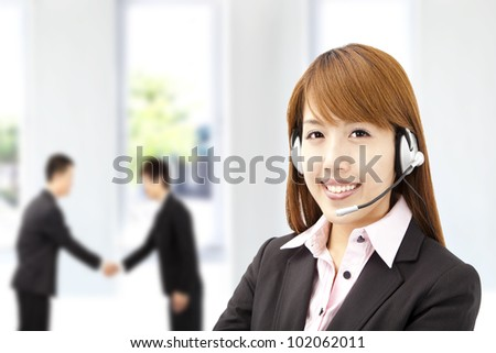 businesswoman  customer service on the phone - stock photo
