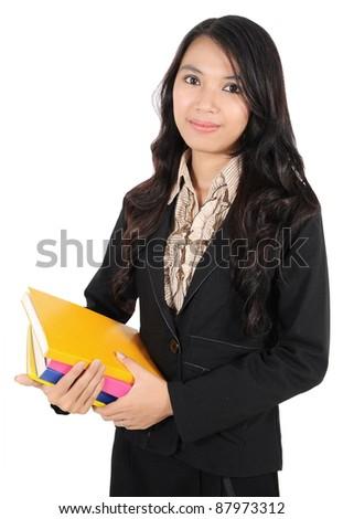 businesswoman holding books isolated on white background - stock photo