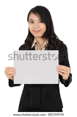 businesswoman smile and holding blank paper isolated on white background