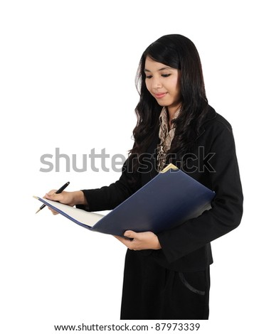 businesswoman who are working on something with a pen and book, isolated on white background - stock photo