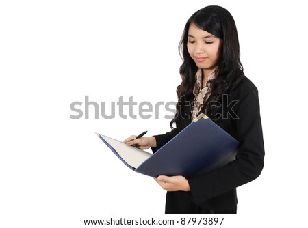 businesswoman who are working with pen and book, isolated on white background - stock photo