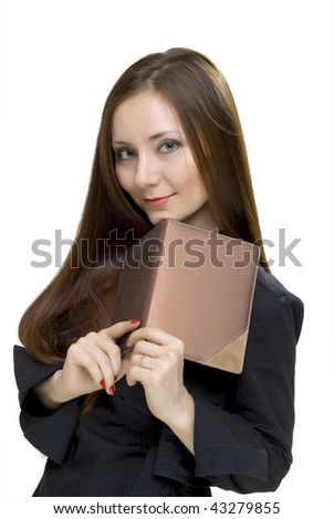businesswoman with book on white background