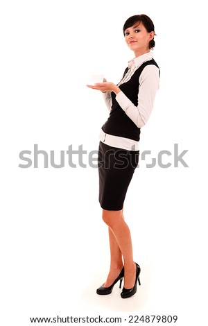 Businesswoman with coffee, full lenght, white background - stock photo