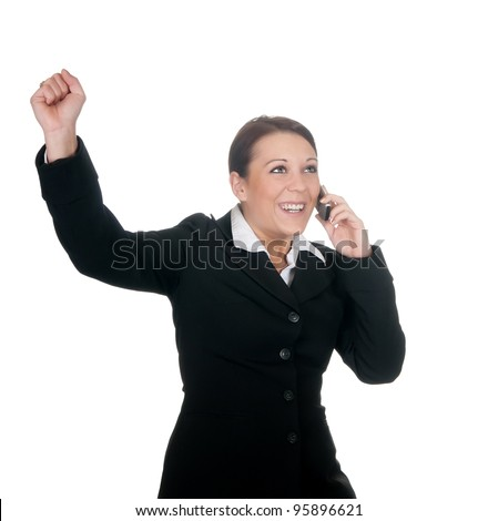 businesswoman with mobile phone cheering