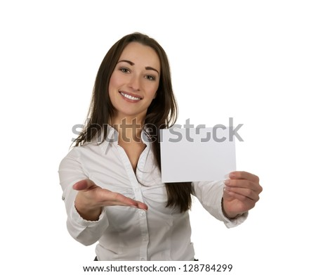 businesswoman with white business card