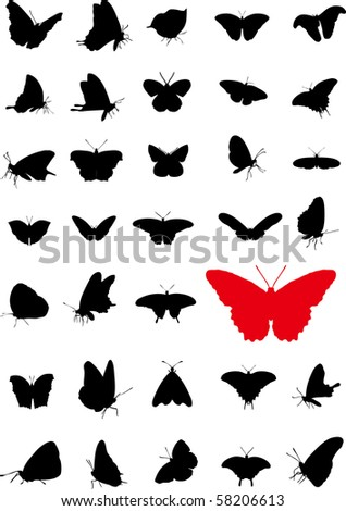 Butterfly silhouettes - stock photo
