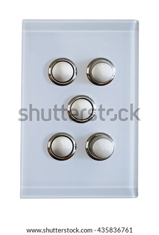 5 buttons for a modern  light switch - stock photo