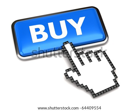BUY button and hand cursor - stock photo