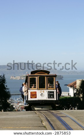 Cable Car on Hyde Street in San Francisco - stock photo